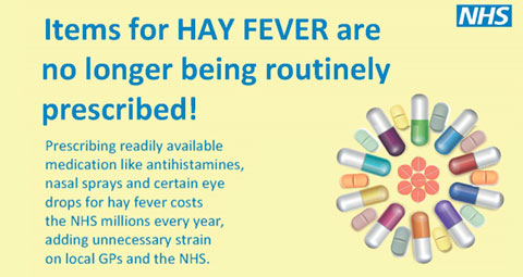 Items for hay fever are no longer being routinely prescribed
